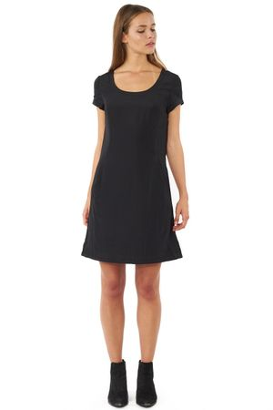 VISCOSE DRESS WITH SLEEVES  BLACK