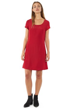 VISCOSE DRESS WITH SLEEVES  RED