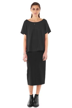 VISCOSE RAGLAN TOP  BLACK