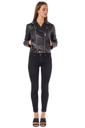 WASHED LEATHER BIKER JACKET  BLACK