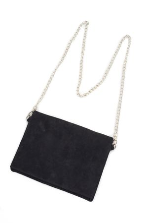 WASHED SUEDE CLUTCH WITH STRAP  BLACK