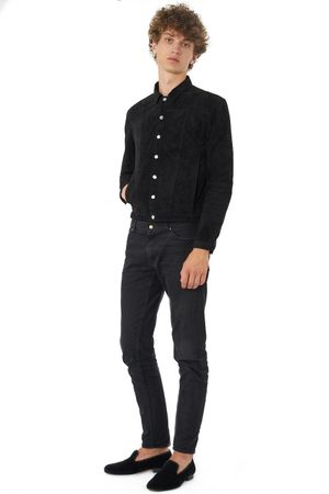 WASHED SUEDE JACKET  BLACK