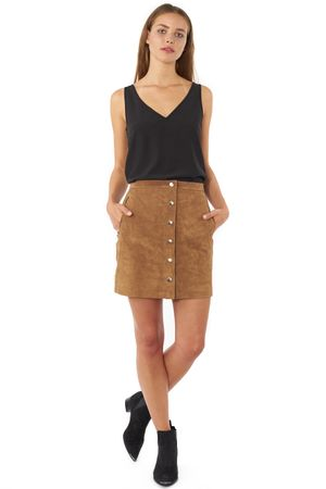 WASHED SUEDE SKIRT  CEDER