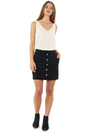 WASHED SUEDE SKIRT  BLACK