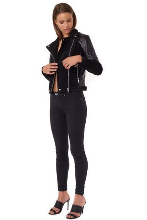 WASHED SUEDE VS LEATHER BIKER JACKET  BLACK