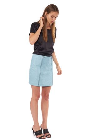 WASHED SUEDE VS LEATHER BIKER SKIRT  COOL MINT