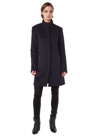 WOOL COAT WITH PLEATHER DETAIL  INK