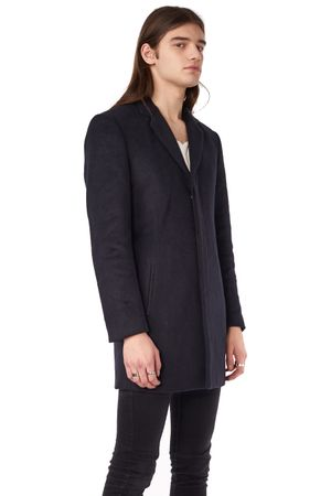 WOOL COAT WITH PLEATHER DETAILS  INK