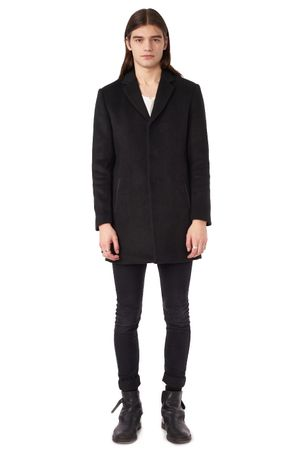 WOOL COAT WITH PLEATHER DETAILS  BLACK