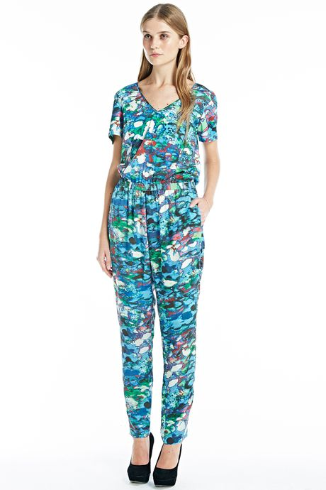 ABSTRACT COLOUR PRINT CATSUIT  PRINT