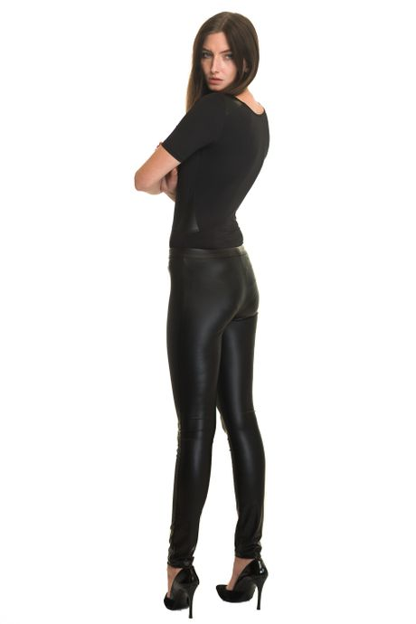 BODYSTOCKING WITH WET-LOOK INSERTS  BLACK