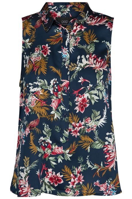 POP COPENHAGEN - BLOOM PRINTED SLEEVELESS SHIRT