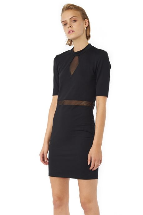 POP COPENHAGEN - BODYCON DRESS WITH DIAMOND SHEER