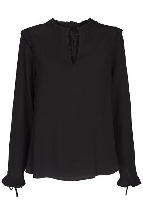 POP COPENHAGEN - COLLARLESS RUFFLE SHIRT