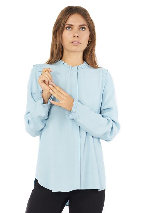 POP COPENHAGEN - COLLARLESS SHIRT WITH RUFFLES