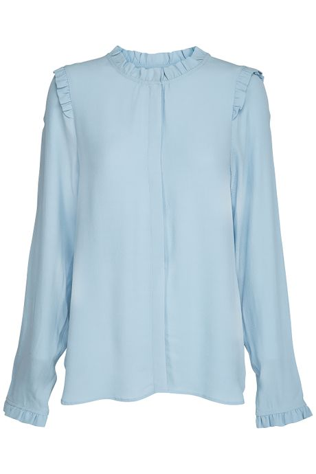 POP COPENHAGEN COLLARLESS SHIRT WITH RUFFLES