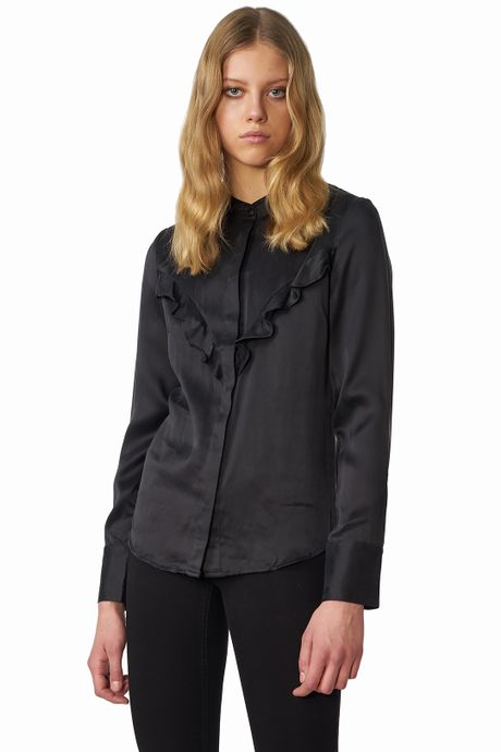 POP COPENHAGEN - RUFFLED SILK SHIRT