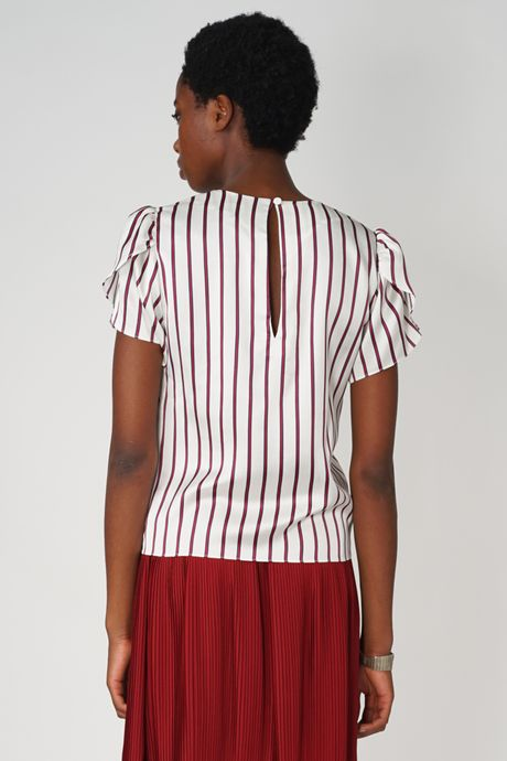 POP COPENHAGEN - STRIPED PETAL SLEEVE TOP