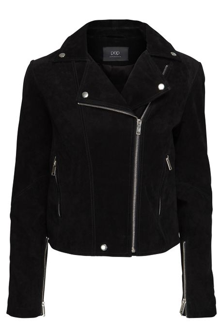 POP COPENHAGEN WASHED SUEDE BIKER JACKET