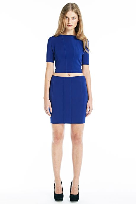 RAW BODYCON CROPPED TOP  BLUE