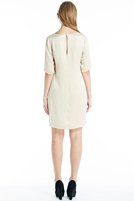 SAND-WASHED SILK DRESS  NUDE