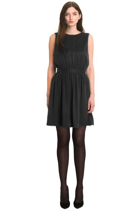 SAND-WASHED SILK VS SILK GEORGETTE DRESS  BLACK