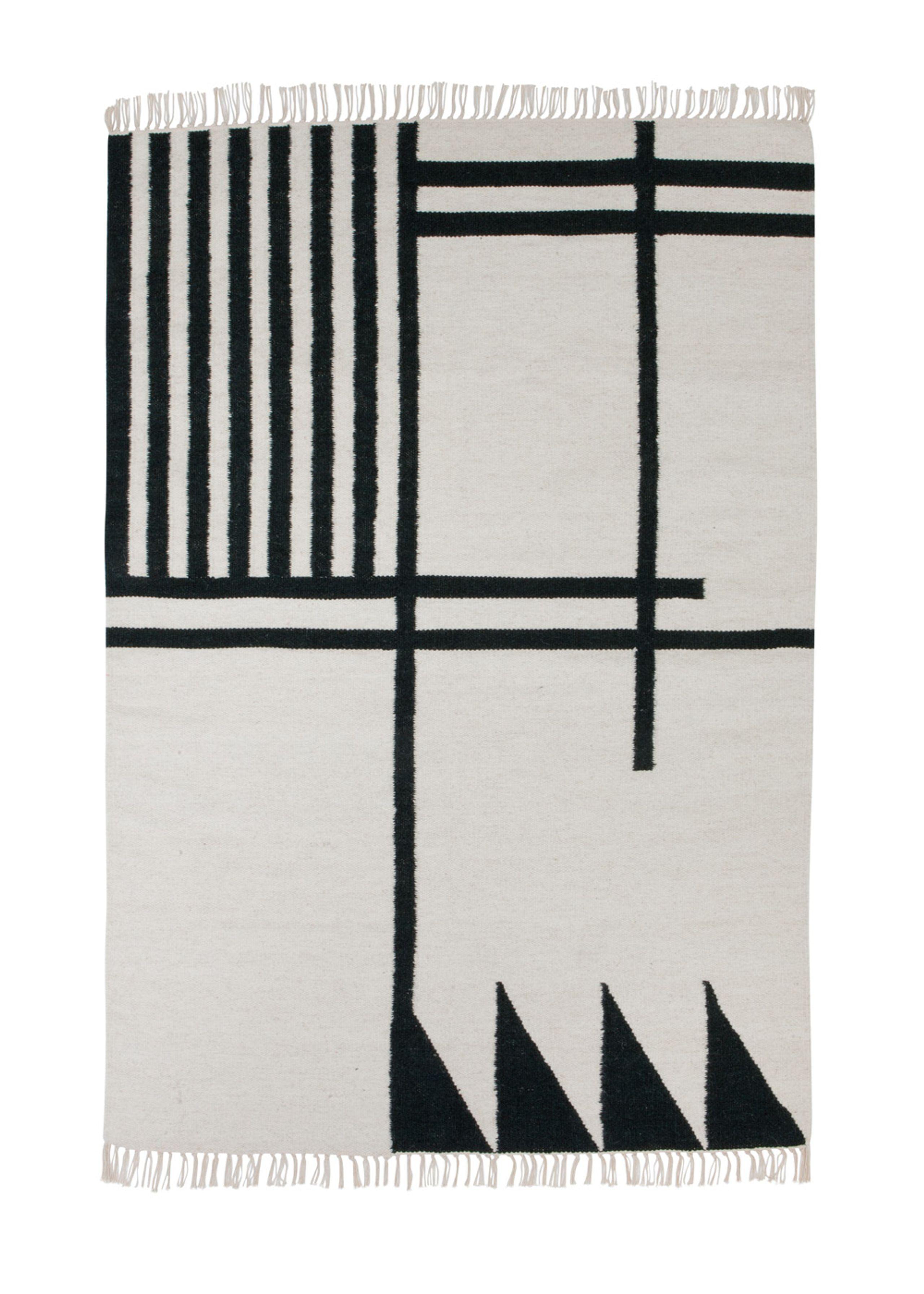 Image of   Kelim Rug- Black Lines