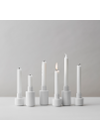 Lyngby Porcelæn - Lyseholder - Kronelysestage - Hvid Med Rifler 7 cm