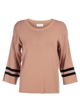 An Ounce - Bluse - New Chloe Knit Blouse - Pale Peach