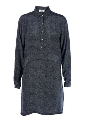 An Ounce - Kjole - Fanny Silk Tunic Dress - Dark Blue Printed