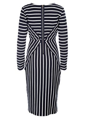 An Ounce - Kjole - Gail Stripe Dress - Dark Blue/White