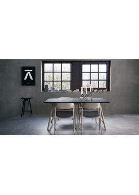 Andersen Furniture - Spisebord - Andersen T7 spisebord - Sort Fenix laminat - Egestel M/ udtræk til 3 plader