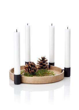 Applicata - Lysestage - Luna Candleholder - Eg/Sort