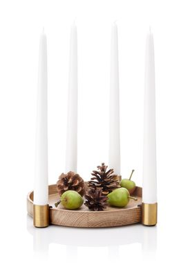 Applicata - Candlestick - Luna  - Oak/Brass