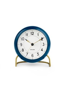 Arne Jacobsen - Watch - Station Vægur - Table clock petroleum/white