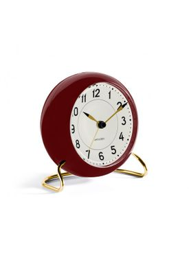 Arne Jacobsen - Watch - Station Vægur - Table clock bordeaux/white