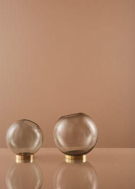 AYTM - Vase - Vase w/stand - Amber/Gold Large