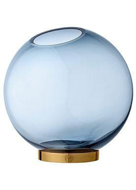 AYTM - Vase - Vase w/stand - Navy/Gold Large