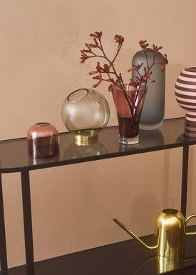 AYTM - Vase - Vase w/stand - Amber/Gold Medium