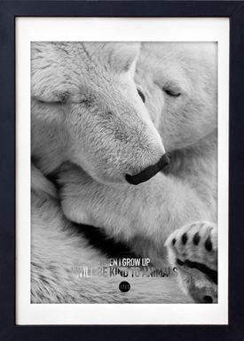 LOVE A FOX - Poster - Baby Polar Bear Grey - Grå