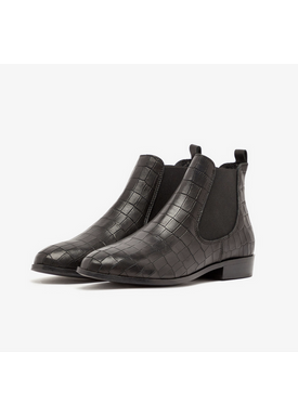 Bianco - Boots - Classic Leather Chelsea - Black Croco Leather