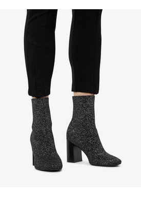 Bianco - Boots - Knit Boot - Black/Silver lurex