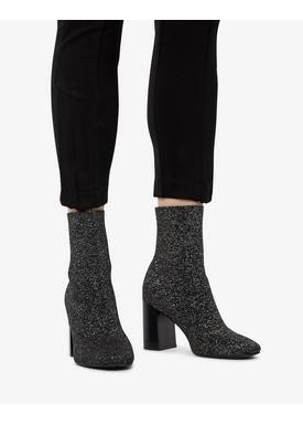 Bianco - Støvler - Knit Boot - Black/Silver lurex