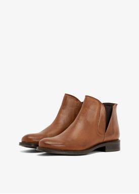 Bianco - Støvler - V-Split Leather Boots - Cognac