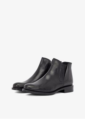 Bianco - Støvler - V-Split Leather Boots - Black