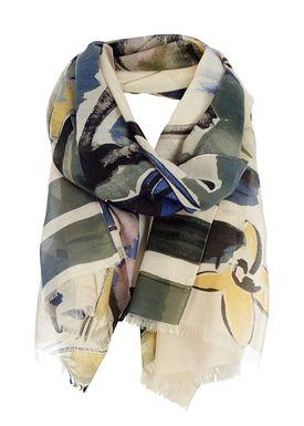 Black Colour - Tørklæde - Art Scarf - Blue Combo