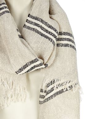 Black Colour - Tørklæde - Boucle Stripe Scarf - Sand