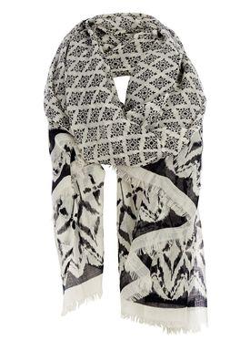 Black Colour - Tørklæde - Gita Wool Scarf - Creme Print