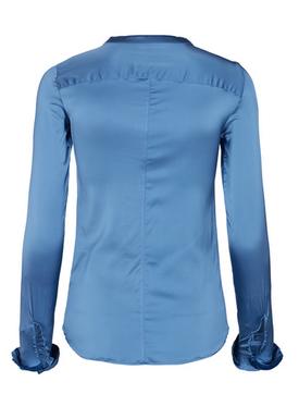 - Blouse - Mattie Satin Shirt - Federal Blue