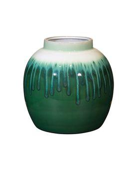 Broste CPH - Vase - Rune Vase - Mørk Grøn/Hvid Glasur